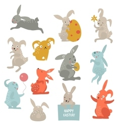 Easter bunny cute style set vector image