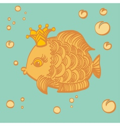 Gold fish with a crown in the sea vector image