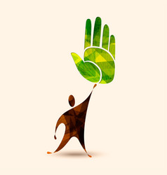 green human hand concept for environment help vector image