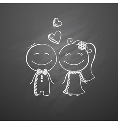 hand drawn wedding couple vector image vector image