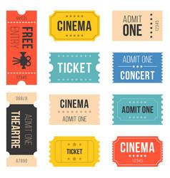 ticket set for cinema vector image