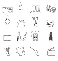 16 outline art icons set eps10 vector image