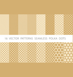 16 patterns seamless polka dots set beige vector