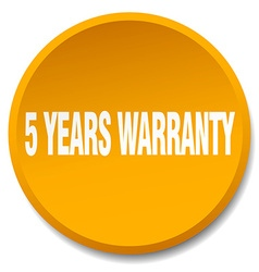 5 years warranty orange round flat isolated push vector