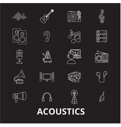 Acoustics editable line icons set on black vector