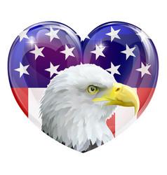 American flag eagle love heart vector
