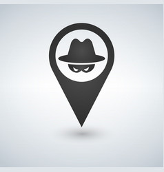 an isolated map mark with a thief icon vector image