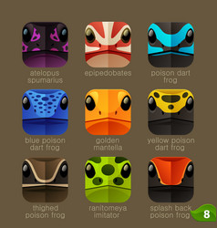 Animal faces for app icons-tree frogs set vector