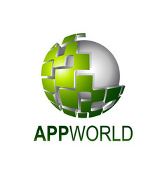app world shiny digital sphere logo concept vector image
