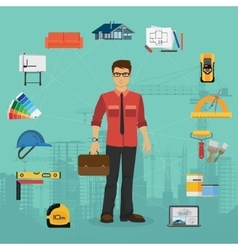 Architecture and Construction flat concept with vector image