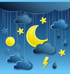 background with night weather icon vector image