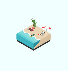 beach isometric isolated flat design vector image