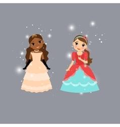 Beautiful cartoon princess characters vector image