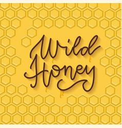bee honey typographic design linear trendy vector image