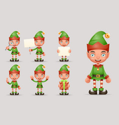 boy cute elf christmas santa claus helper teen new vector image
