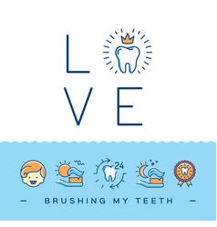 Brushing my teeth card childrens dentistry cute vector