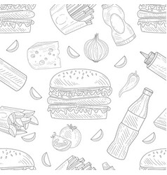 burger snack and ingredients repeated in seamless vector image