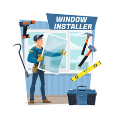 Carpenter worker window installer occupation job vector