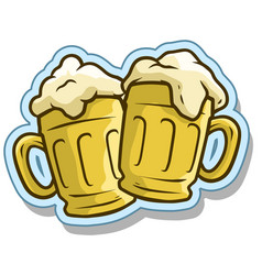 cartoon cool beer mugs sticker icon vector image