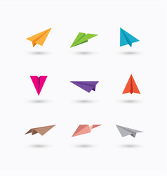 Colorful paper plane icons vector