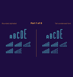 Condensed outlined sans serif font rounded set vector