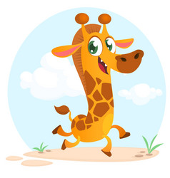cool cartoon giraffe vector image