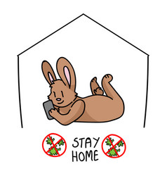Corona virus kids cartoon stay home cute bunny vector