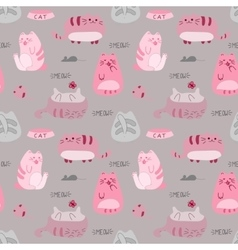 cute funny seamless pattern with cats vector image
