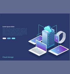 data center concept cloud storage data transfer vector image