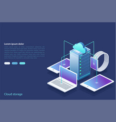 Data center concept of cloud storage data transfer vector