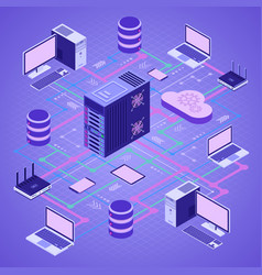 Data network cloud computing technology isometric vector