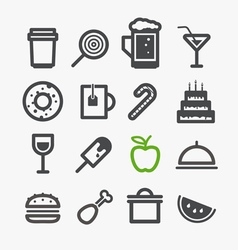 Different drinks and food icons set Design vector image