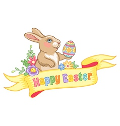 Easter rabbit ribbon vector