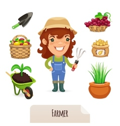 Female Farmer Icons Set vector image