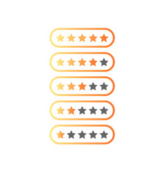 five stars ratings web 20 button yellow and gray vector image