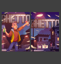 Ghetto posters with poor houses and street artist vector