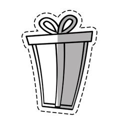 Gift box ribbon package decor linea shadow vector