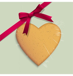 Gift box with cookie of heart shaped vector