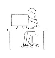 Girl sitting working laptop program technology vector
