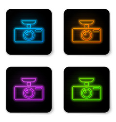 Glowing neon car dvr icon isolated on white vector