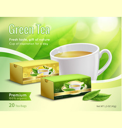 Green tea advertising realistic composition vector