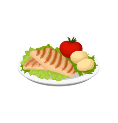 grilled meat served with vegetables on a plate vector image