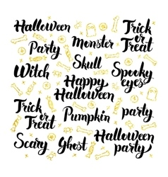 Halloween Party Lettering Design Set vector image