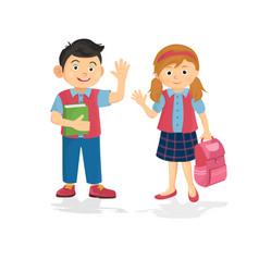 happy couple student schoolboy and schoolgirl vector image
