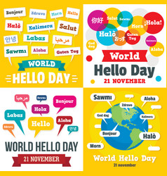 Hello day banner set flat style vector