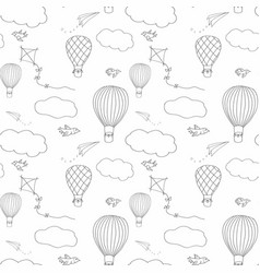 Hot air baloon seamless pattern vector