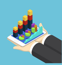 isometric businessman hands holding tablet vector image