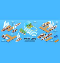 isometric yacht club infograhics vector image