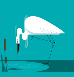 Little egret stands on one leg vector