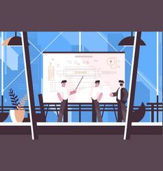 Man engineer showing on blackboard information vector